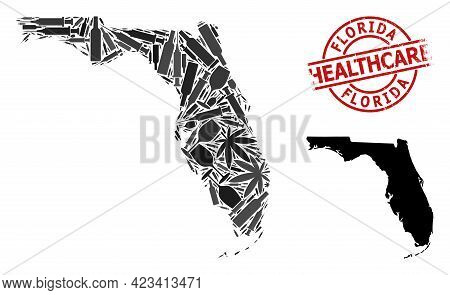 Vector Addiction Composition Map Of Florida State. Scratched Healthcare Round Red Stamp. Template Fo