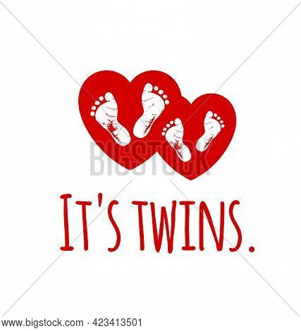 Footsteps.it's Twins.twin Icon.red White Vector Baby Footprints Silhouette Print Design.footsteps.ba