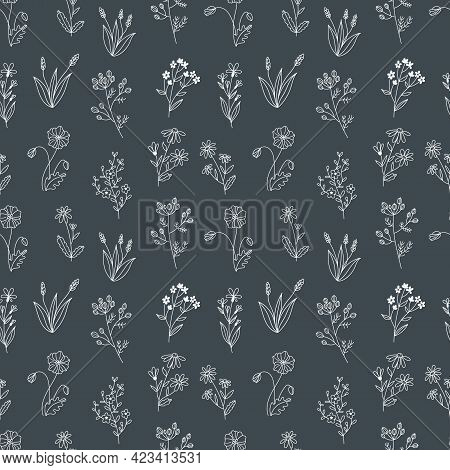 Seamless Vector Pattern With Wildflowers. Print Design With Hand Drawn Doodle Flowers In Black And W