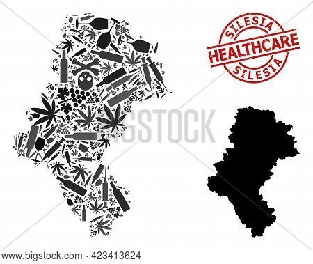 Vector Narcotic Mosaic Map Of Silesia Province. Rubber Health Care Round Red Stamp. Template For Nar
