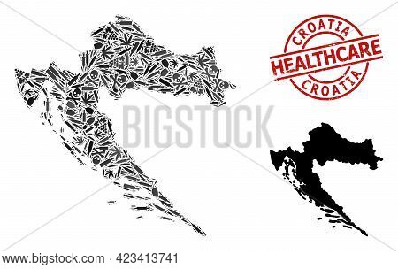 Vector Drugs Mosaic Map Of Croatia. Rubber Health Care Round Red Rubber Imitation. Concept For Narco
