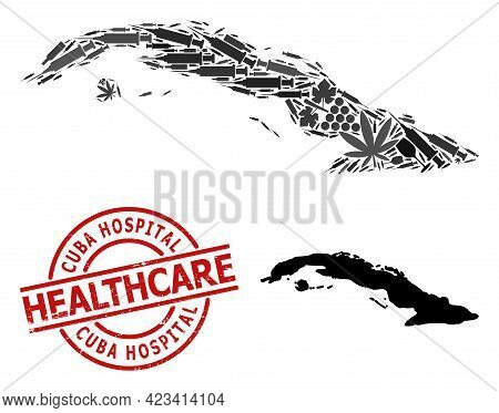 Vector Narcotic Composition Map Of Cuba. Grunge Health Care Round Red Watermark. Concept For Narcoti