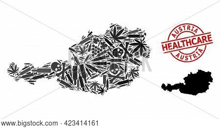 Vector Addiction Mosaic Map Of Austria. Grunge Health Care Round Red Seal. Template For Narcotic Add