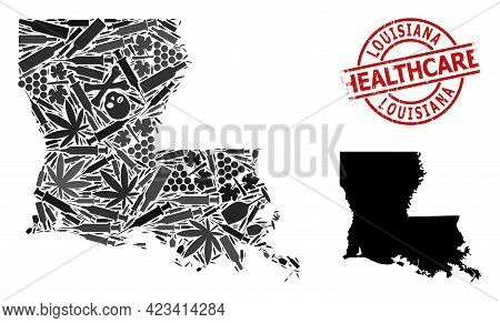 Vector Addiction Collage Map Of Louisiana State. Rubber Healthcare Round Red Rubber Imitation. Conce