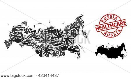 Vector Addiction Composition Map Of Russia. Rubber Health Care Round Red Rubber Imitation. Concept F
