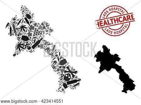 Vector Narcotic Composition Map Of Laos. Scratched Healthcare Round Red Rubber Imitation. Concept Fo