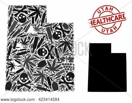 Vector Narcotic Mosaic Map Of Utah State. Rubber Health Care Round Red Seal Stamp. Template For Narc
