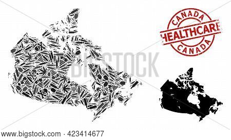 Vector Drugs Mosaic Map Of Canada. Grunge Health Care Round Red Rubber Imitation. Concept For Narcot
