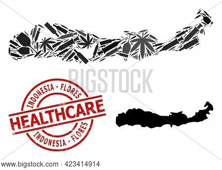 Vector Narcotic Collage Map Of Indonesia - Flores Island. Rubber Healthcare Round Red Rubber Imitati