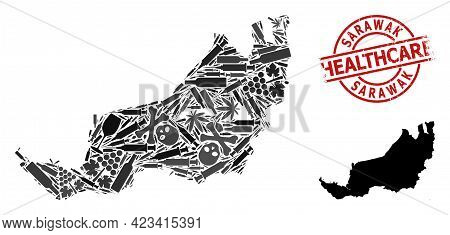 Vector Drugs Collage Map Of Sarawak. Rubber Health Care Round Red Badge. Concept For Narcotic Addict