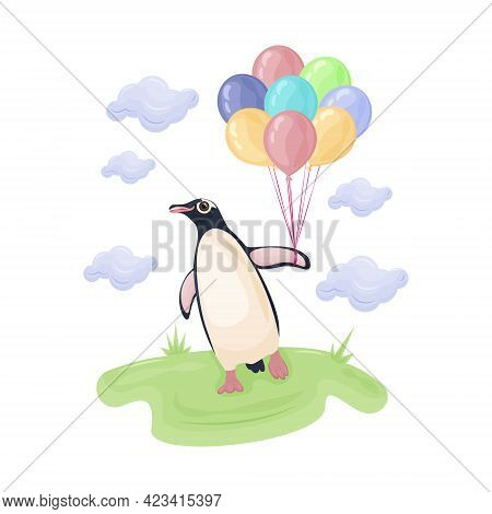 Cute Children S Illustration With The Image Of A Cute Penguin Walking On Green Grass And Holding Col
