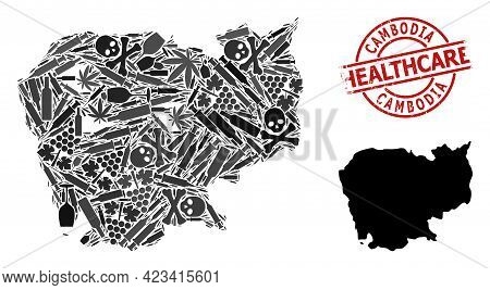 Vector Drugs Mosaic Map Of Cambodia. Scratched Health Care Round Red Seal Stamp. Template For Narcot