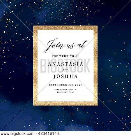 Magic Night Dark Blue Card With Sparkling Glitter And Gold Art