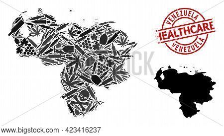Vector Narcotic Mosaic Map Of Venezuela. Scratched Health Care Round Red Imprint. Concept For Narcot
