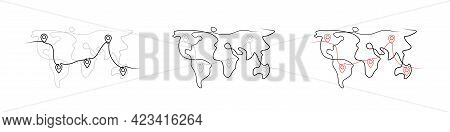 Location Pointers On World Map One Line Drawing. Location Pins On Map Continuous Line Drawing. Gps N