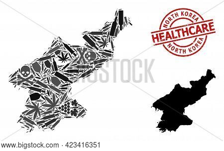 Vector Narcotic Composition Map Of North Korea. Rubber Health Care Round Red Stamp. Concept For Narc