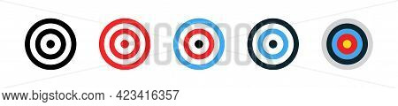 Set Of Shooting Targets Isolated On White Background. Goal Sign. Archery Target Set. Concept Of Arch