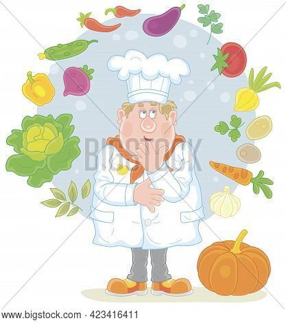 Funny Chubby Cook In A White Chef Hat Thinking About An Original Tasty Soup With Fresh Vegetables An