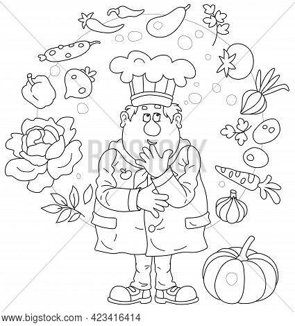 Funny Chubby Cook In A Chef Hat Thinking About An Original Tasty Soup With Fresh Vegetables And Spic