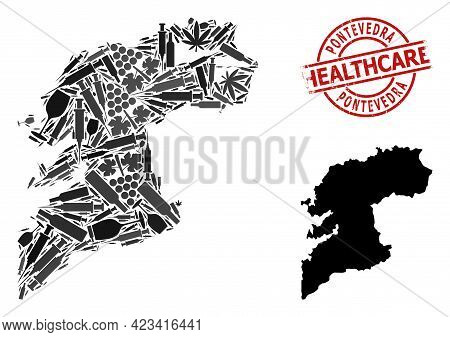 Vector Addiction Mosaic Map Of Pontevedra Province. Rubber Health Care Round Red Imprint. Concept Fo