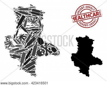 Vector Addiction Composition Map Of Saxony-anhalt State. Grunge Healthcare Round Red Badge. Concept