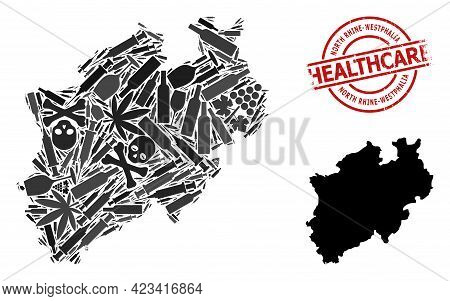 Vector Narcotic Collage Map Of North Rhine-westphalia State. Rubber Healthcare Round Red Seal Stamp.