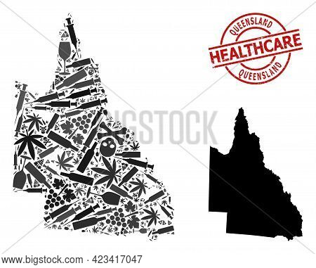 Vector Addiction Composition Map Of Australian Queensland. Scratched Health Care Round Red Rubber Im