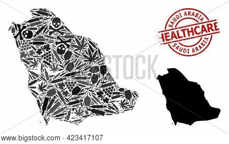 Vector Narcotic Mosaic Map Of Saudi Arabia. Scratched Healthcare Round Red Seal. Concept For Narcoti