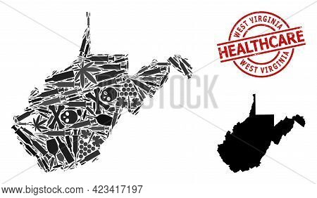 Vector Narcotic Collage Map Of West Virginia State. Rubber Health Care Round Red Imprint. Concept Fo