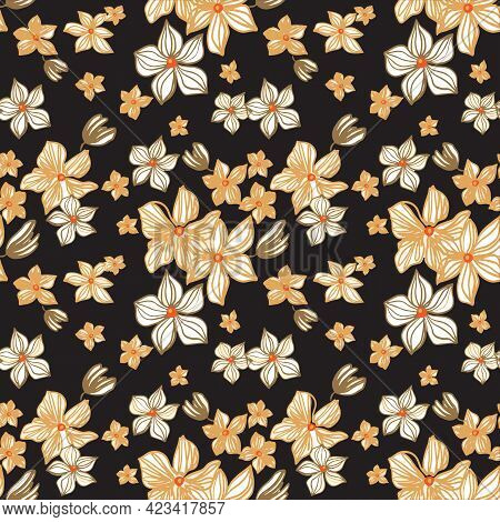 Seamless Repeat Pattern With Yellow Flowers On Black Background. Hand Drawn Fabric, Gift Wrap, Wall