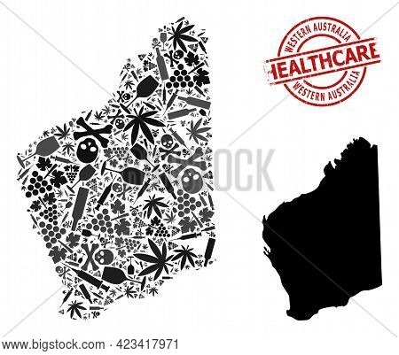 Vector Addiction Collage Map Of Western Australia. Rubber Health Care Round Red Rubber Imitation. Te