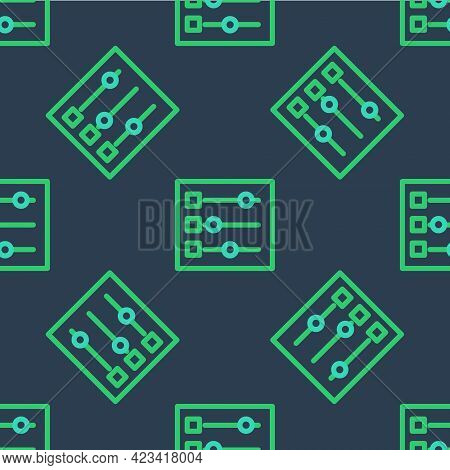 Line Car Settings Icon Isolated Seamless Pattern On Blue Background. Auto Mechanic Service. Repair S