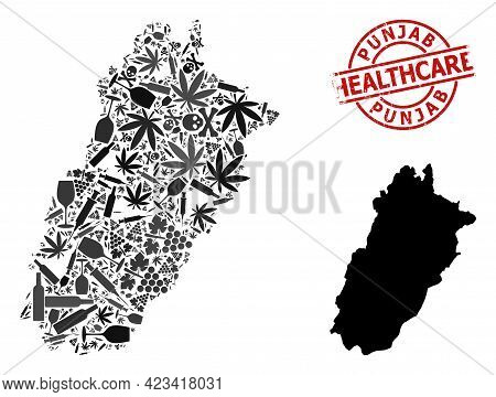 Vector Narcotic Mosaic Map Of Punjab Province. Scratched Healthcare Round Red Rubber Imitation. Conc