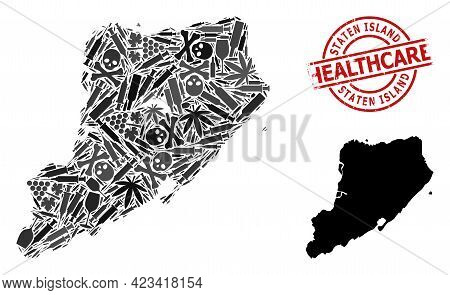 Vector Narcotic Composition Map Of Staten Island. Grunge Health Care Round Red Watermark. Concept Fo