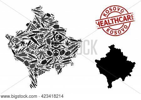 Vector Narcotic Mosaic Map Of Kosovo. Grunge Healthcare Round Red Seal Stamp. Concept For Narcotic A