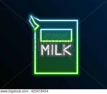 Glowing Neon Line Paper Package For Milk Icon Isolated On Black Background. Milk Packet Sign. Colorf