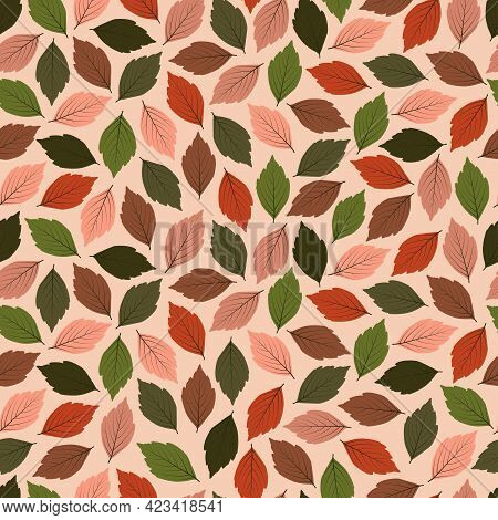 Elegant Trendy Ditsy Floral Vector Seamless Pattern Design Of Green And Dry Leaves. Repeating Textur