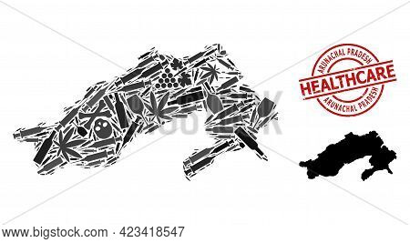Vector Addiction Composition Map Of Arunachal Pradesh State. Scratched Health Care Round Red Seal. T