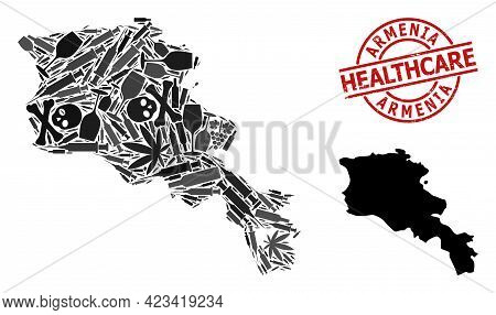 Vector Narcotic Collage Map Of Armenia. Scratched Healthcare Round Red Rubber Imitation. Template Fo