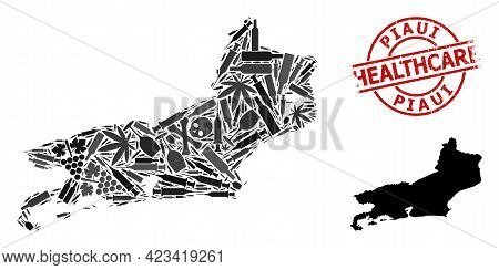Vector Narcotic Composition Map Of Piaui State. Rubber Healthcare Round Red Watermark. Template For
