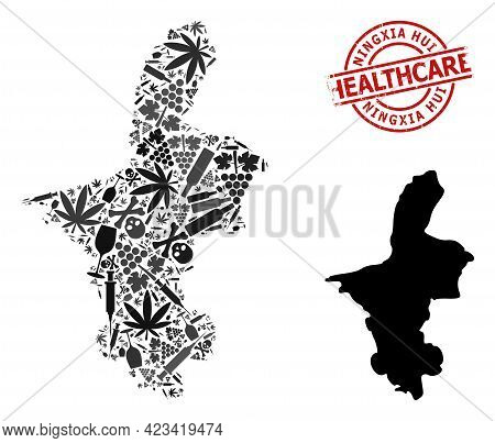 Vector Narcotic Mosaic Map Of Ningxia Hui Region. Rubber Healthcare Round Red Rubber Imitation. Conc