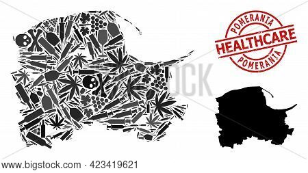 Vector Addiction Composition Map Of Pomerania Province. Rubber Health Care Round Red Seal Stamp. Tem