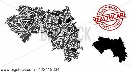 Vector Addiction Collage Map Of French Guinea. Rubber Health Care Round Red Rubber Imitation. Concep