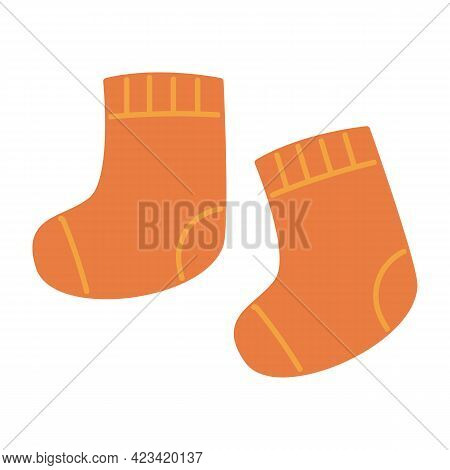 Warm Knitted Socks In Orange Color. Warm Accessories Wool For The Winter For Children. Clothes Vecto