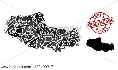 Vector Narcotic Collage Map Of Tibet. Scratched Health Care Round Red Rubber Imitation. Template For