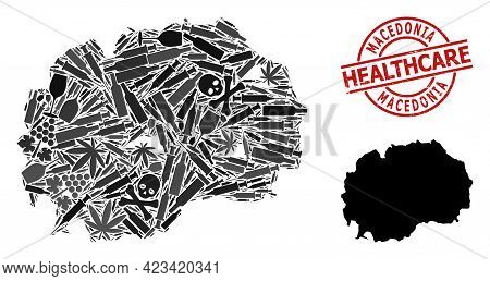 Vector Drugs Collage Map Of Macedonia. Scratched Health Care Round Red Stamp. Concept For Narcotic A