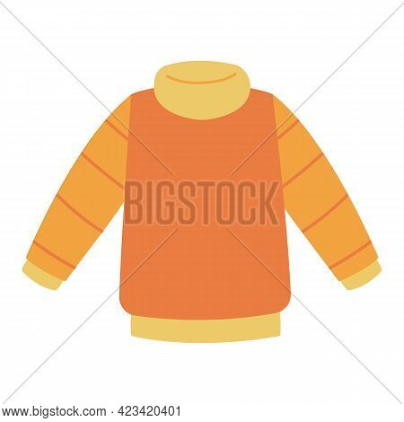 Sweater Knitted By Hand In Orange. Warm Wool Clothes For The Winter For Children. Clothes Vector Ill