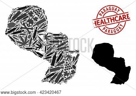 Vector Narcotic Mosaic Map Of Paraguay. Rubber Health Care Round Red Rubber Imitation. Concept For N