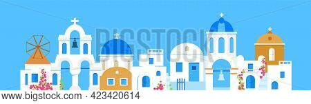 Santorini. Greece. Buildings Of Architecture. Panoramic View. Traditional Greek White Houses With Bl