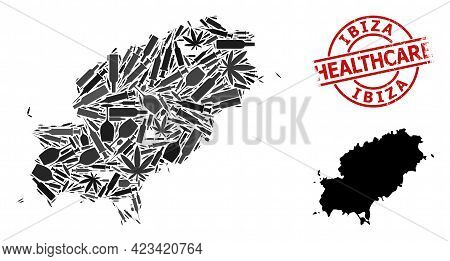Vector Narcotic Mosaic Map Of Ibiza Island. Grunge Health Care Round Red Seal Stamp. Concept For Nar